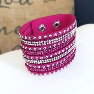 🎀 NEW • Pink Crystal Vegan Leather Bracelet •